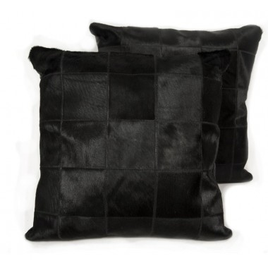 cowhide cushion mosaik black