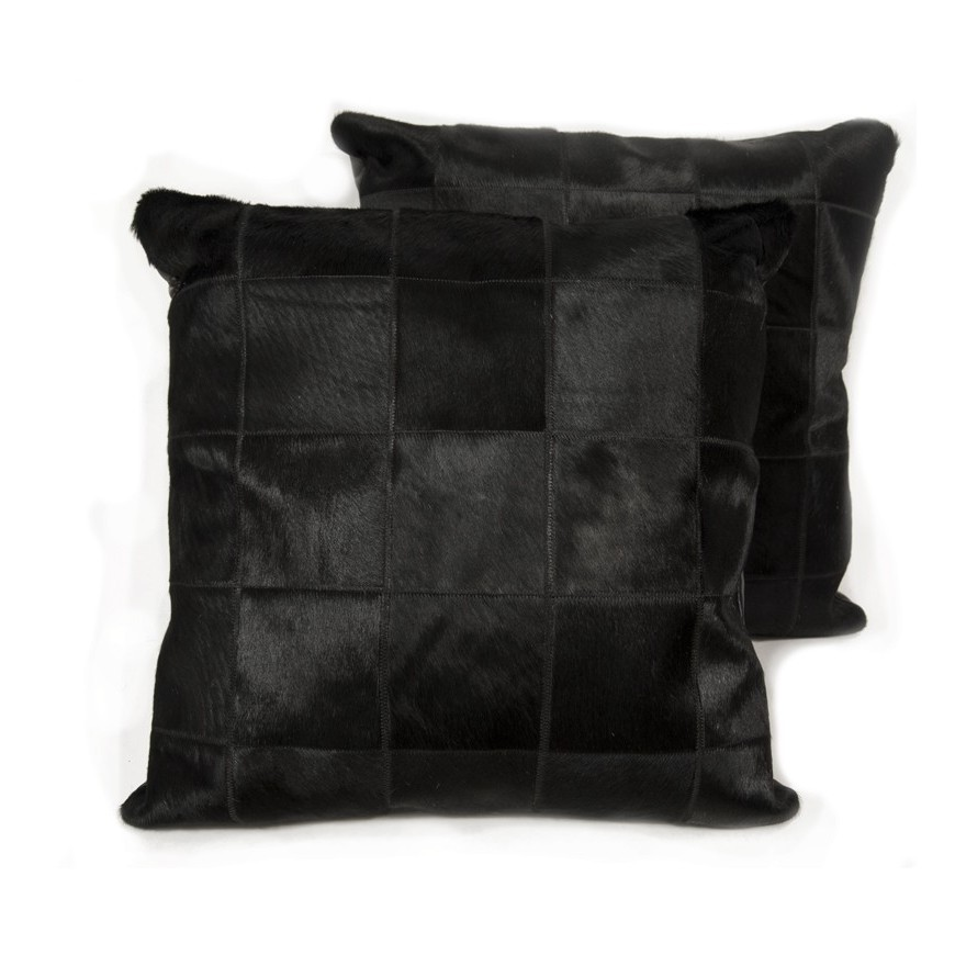 pair cushion covers* black in panels 10x10