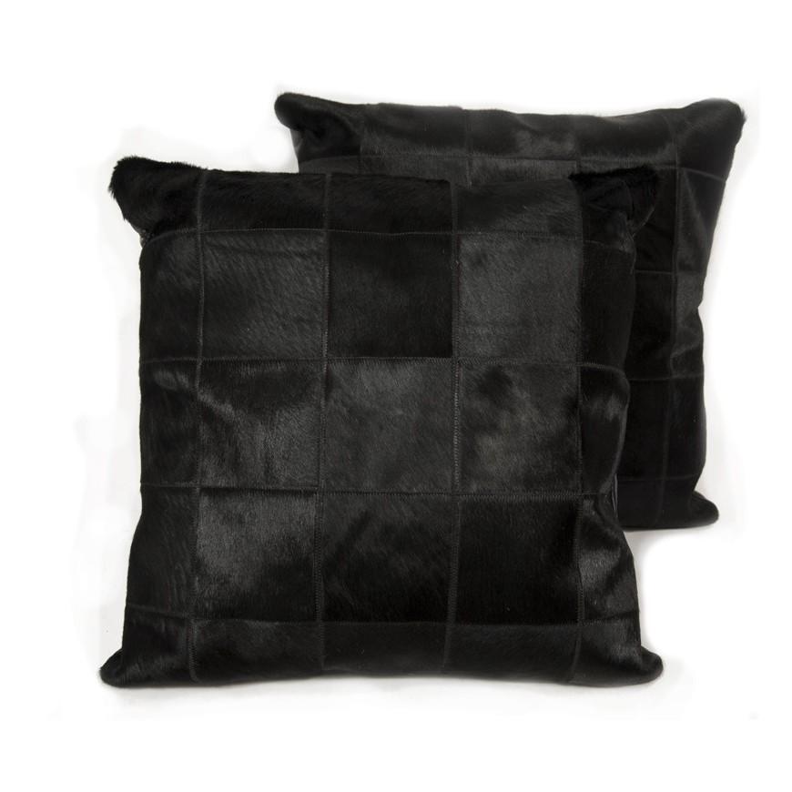 Ζευγάρι Μαξιλάρια ponyskin black in panels 10x10