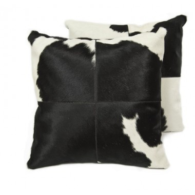 Cowhide cushion black white