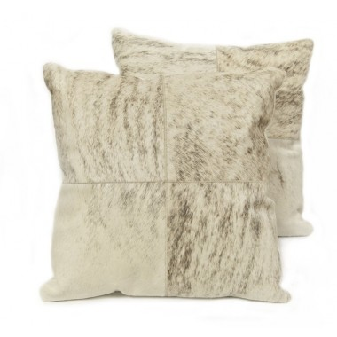 cowhide cushions light grey beige