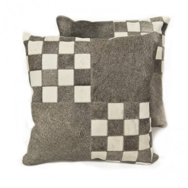 cowhide cushion penin light grey