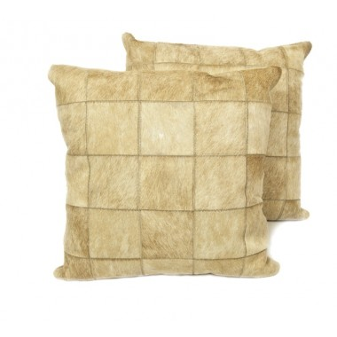 cowhide cushion mosaik light beige