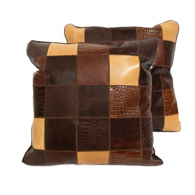 leather cushions mosaik multicolor brown
