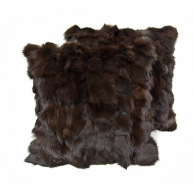 pair fur cushion covers* fox testa di moro