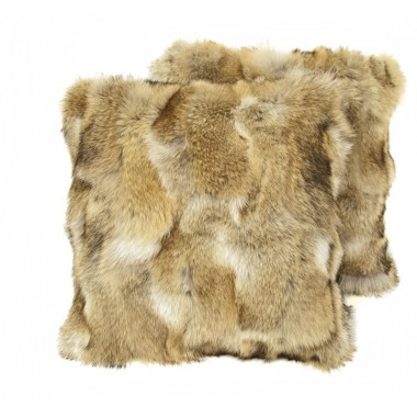 pair fur cushion covers* wolf