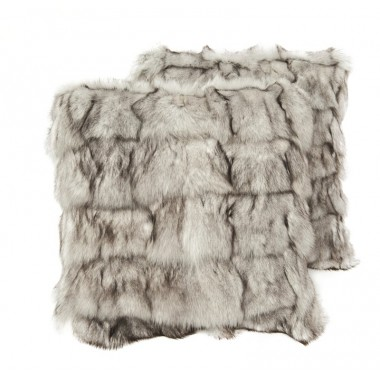 pair fur cushion covers* fox white grey