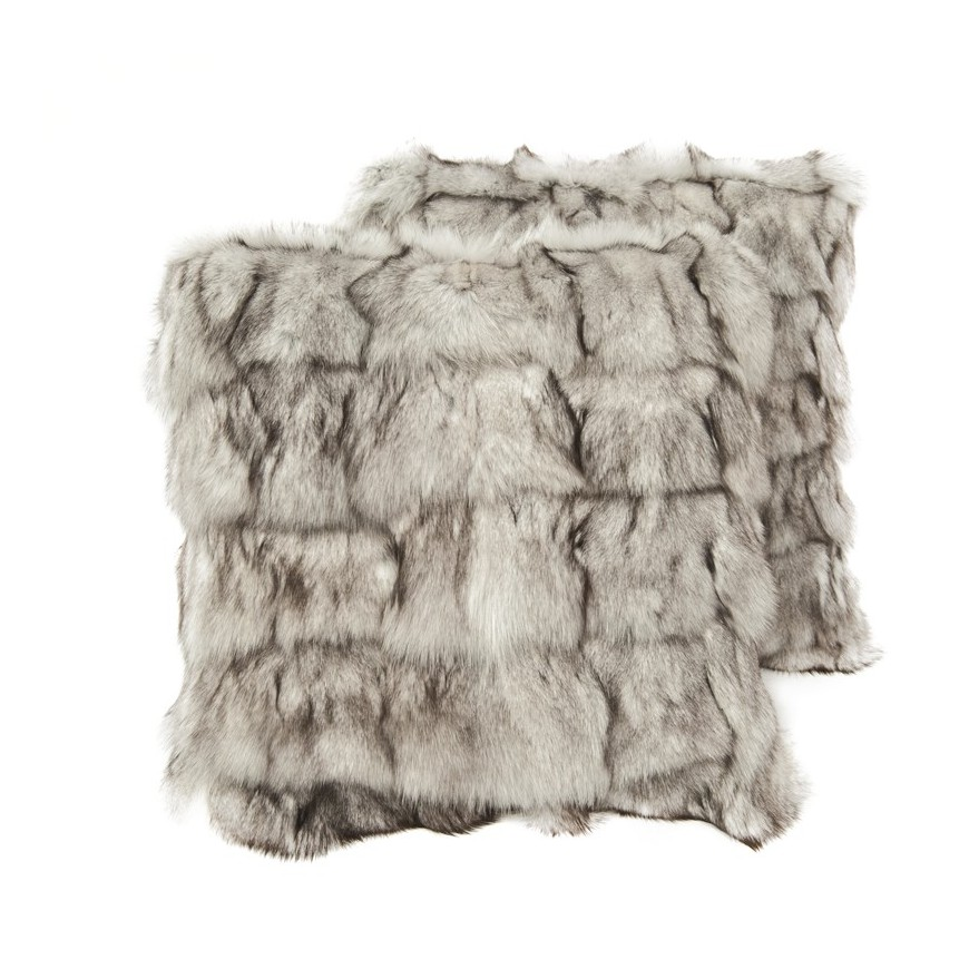 pair fur cushion covers* fox white grey