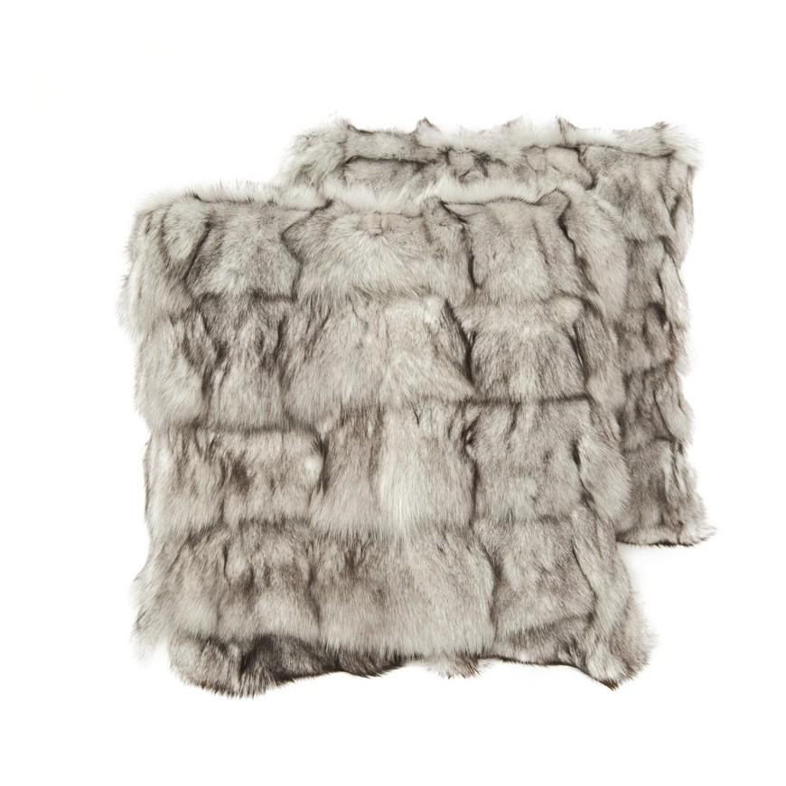 Ζευγαρι Μαξιλαρια γουνινα fox white grey