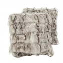 fur cushion fox white grey