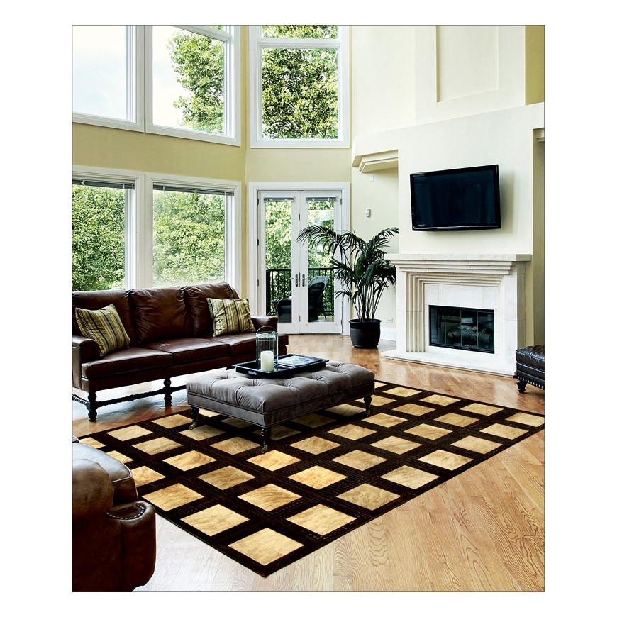 leather rug k-148 exotic light beige - croco t.moro 30x30 ins 20