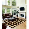 patchwork design cowhide rug k-148 light beige - croco testa di moro