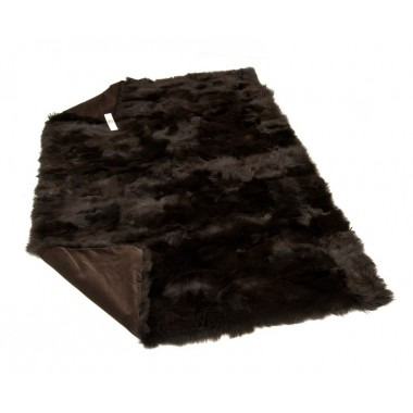 fur plaid - throw - blanket  toscana dark brown