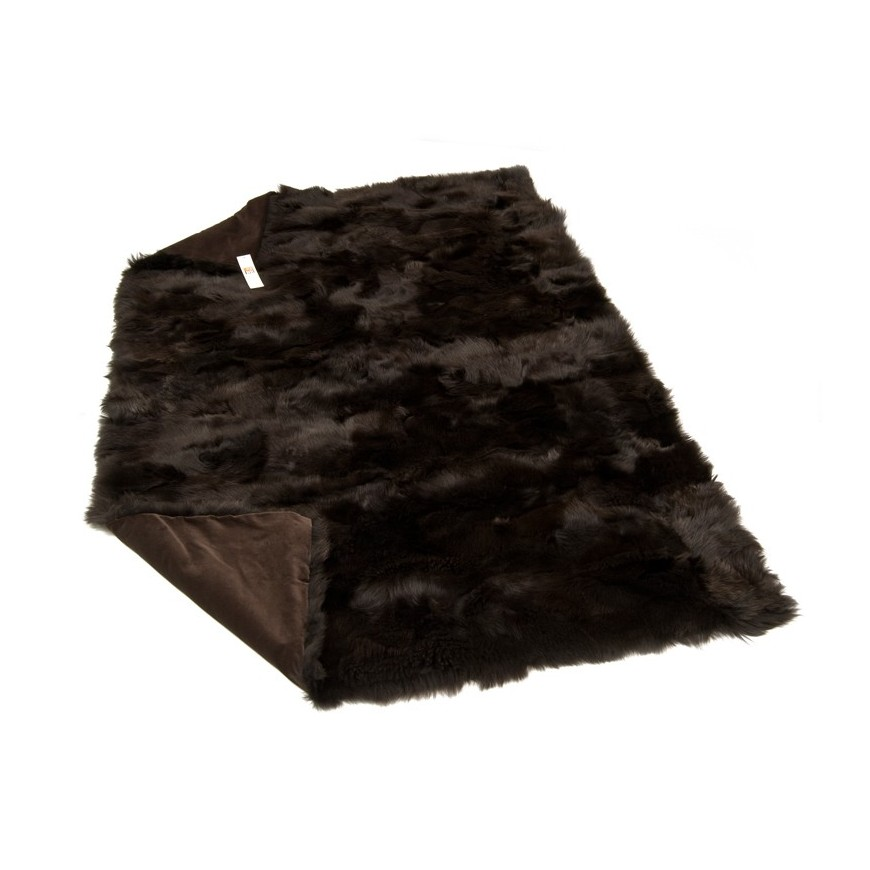 tus dark brown fur throw