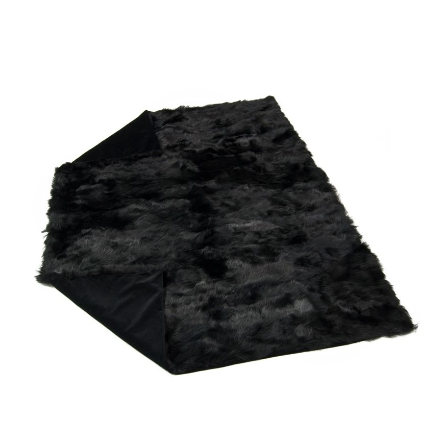 tus black fur throw