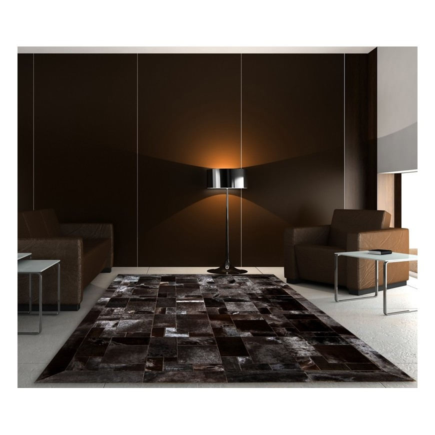 Brown horsy puzzle leather rug with frame Testa Di Moro