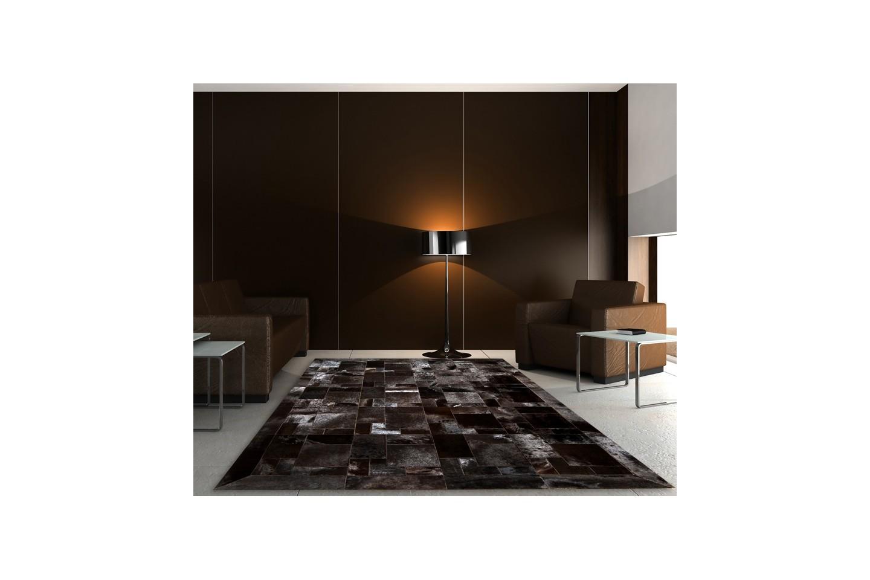 Modern Cowhide Rug Horsy Dark Brown Puzzle Fur Home