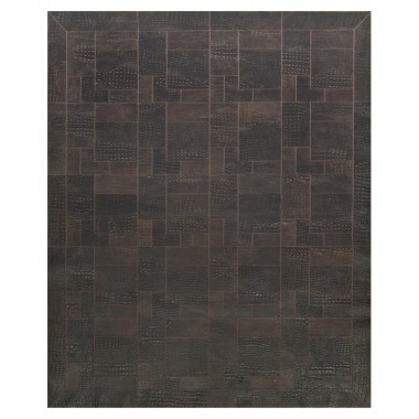 patchwork leather rug k-1677 croco testa di moro puzzle