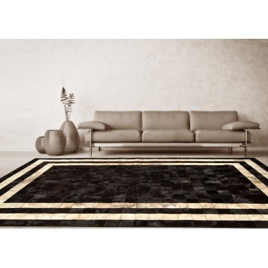 leather rug k-1773 t.moro horsy double line exotic light beige 10x10