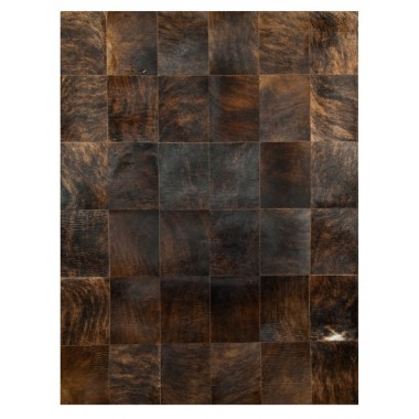 patchwork cowhide rug k-150-1 dark brown