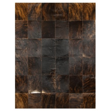 Patchwork cowhide rug k-150 dark brown