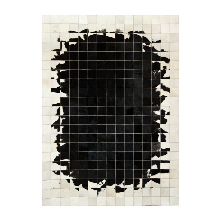 δερματινο χαλι k-1784 black white 10x10