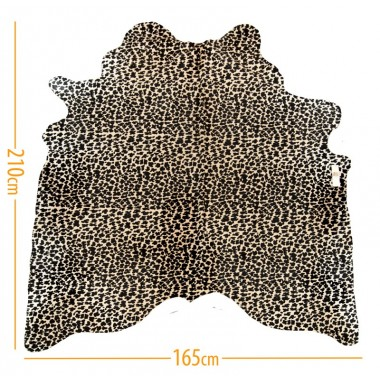 cowhide d-17 leopard black on light beige
