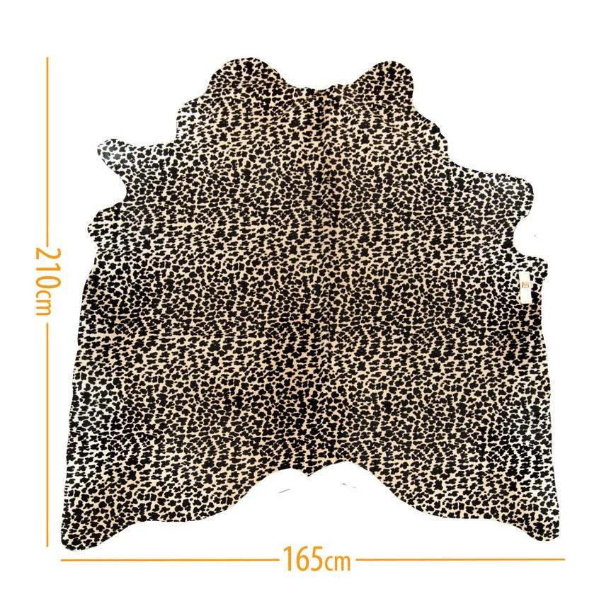 cowhide d-17 leopard black on light beige