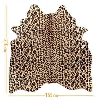 cowhide d-18 leopard 2 black on light beige