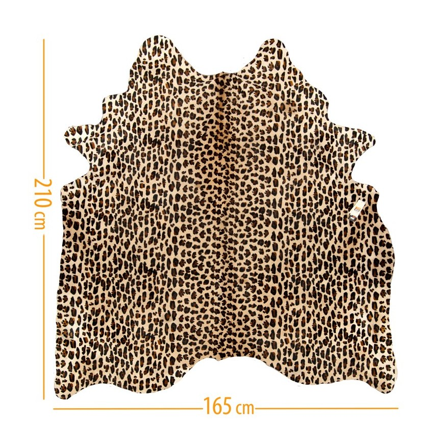 cowhide d-18 leopard 2 black on light beige