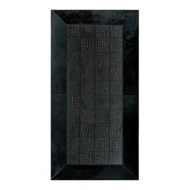 Δερματινο χαλι για τζακι croco nero frame black
