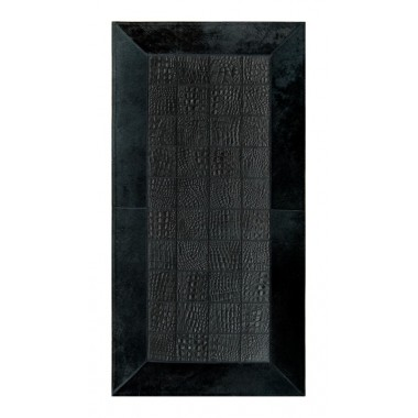 Leather rug for fireplace croco nero frame black panel 10x10