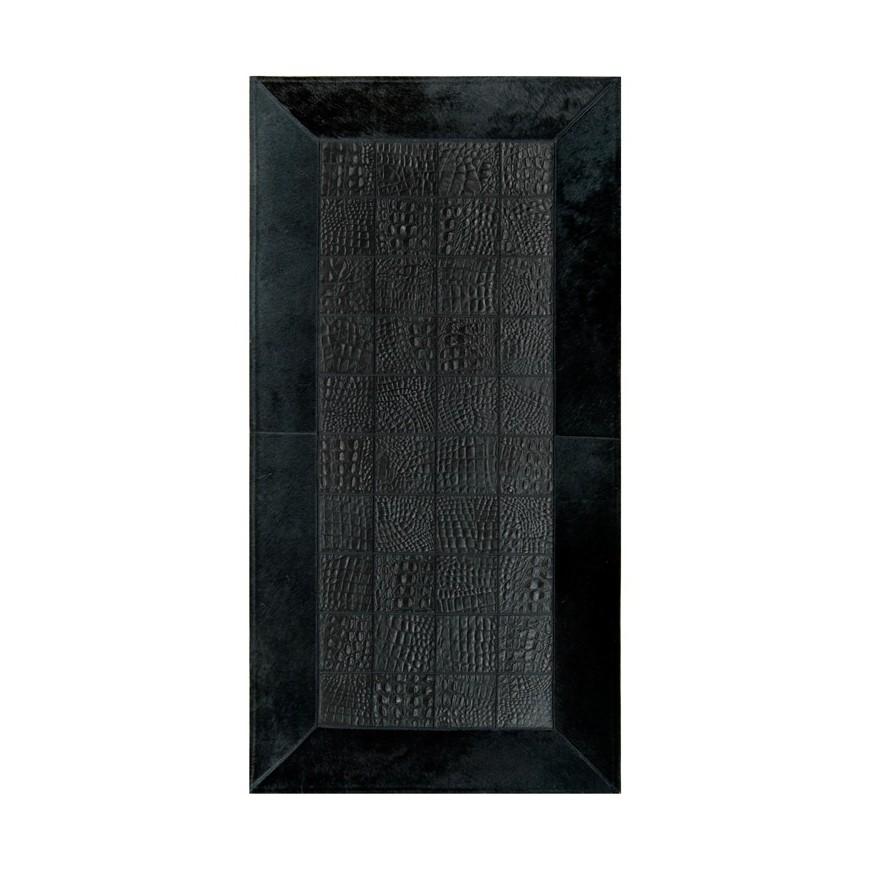 Δερματινο χαλι για τζακι croco nero frame black panel 10x10