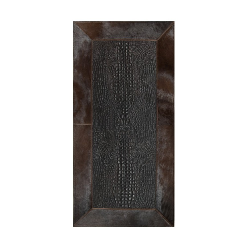 Leather rug for fireplace croco t moro frame cognac horsy