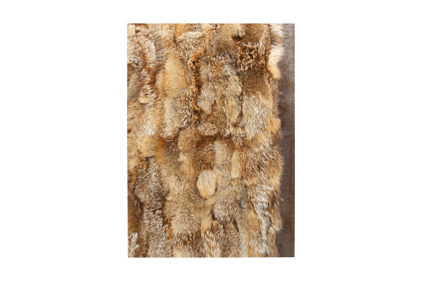 K 1799 Red Fox Fur Rug With Cognac Leather Frame Fur Home