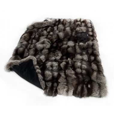 fur plaid throw blanket  silver fox Throw - Blanket