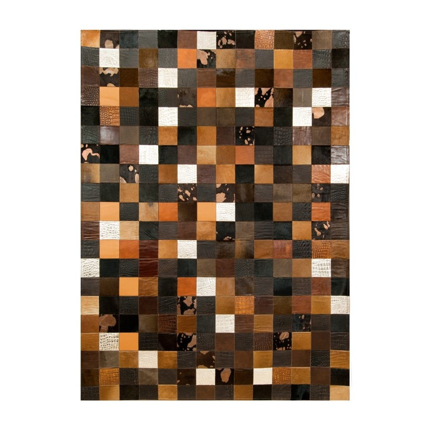 cowhide rug k-1675 multicolor brown panels 10x10