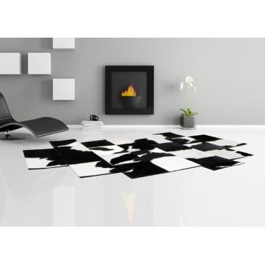 δερμάτινο χαλί pixel black white