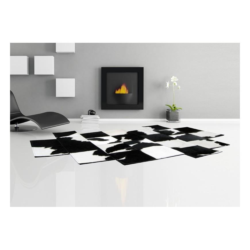 cowhide rug pixel black white