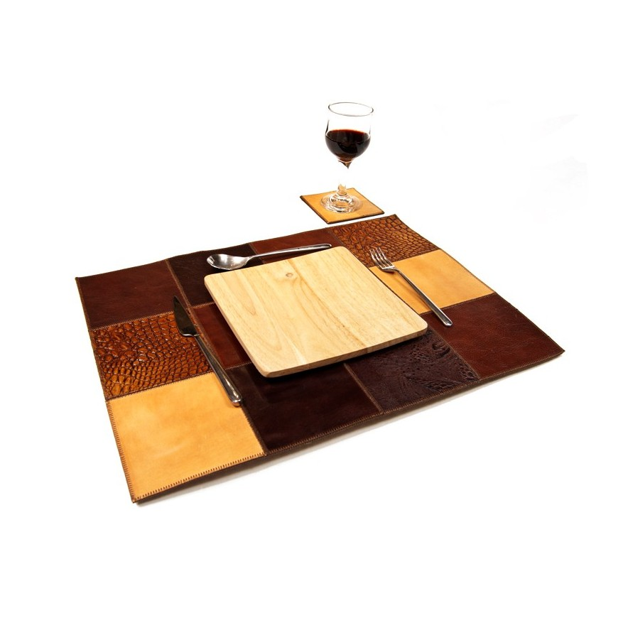 Set Of Four leather placemats & coasters - brown