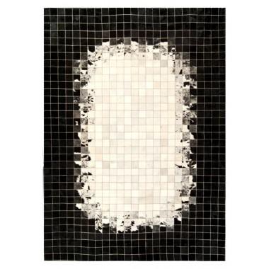 δερματινο χαλι k-1809 mosaik white-black