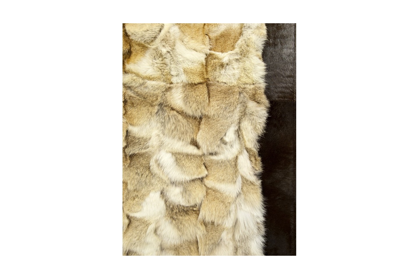 Natural Cognac Beige Wolf Fur Rug Fur Home