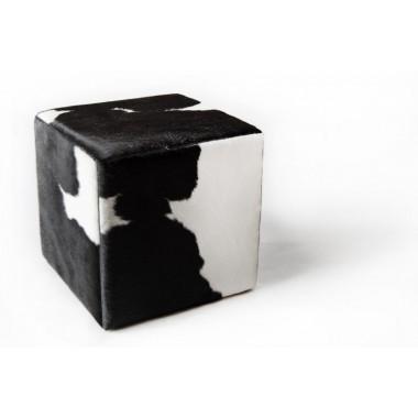 δερματινο σκαμπο πουφ Μαύρο Ασπρο -  black white  - pony skin