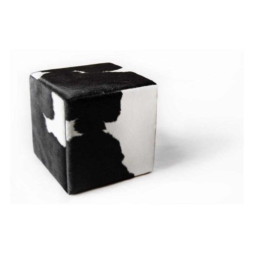 δερματινο σκαμπο πουφ black white