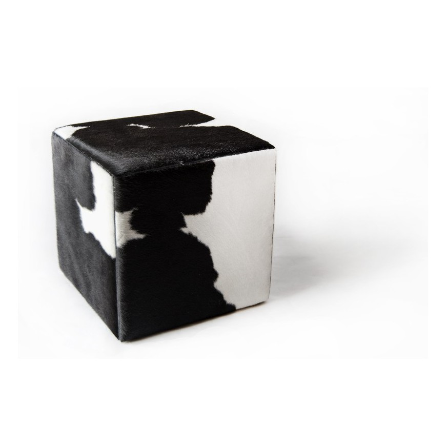 cowhide cube ottoman cover* black white natural
