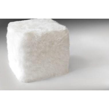 γούνινο σκαμπο πουφ sheepskin white λευκό άσπρο προβάτου