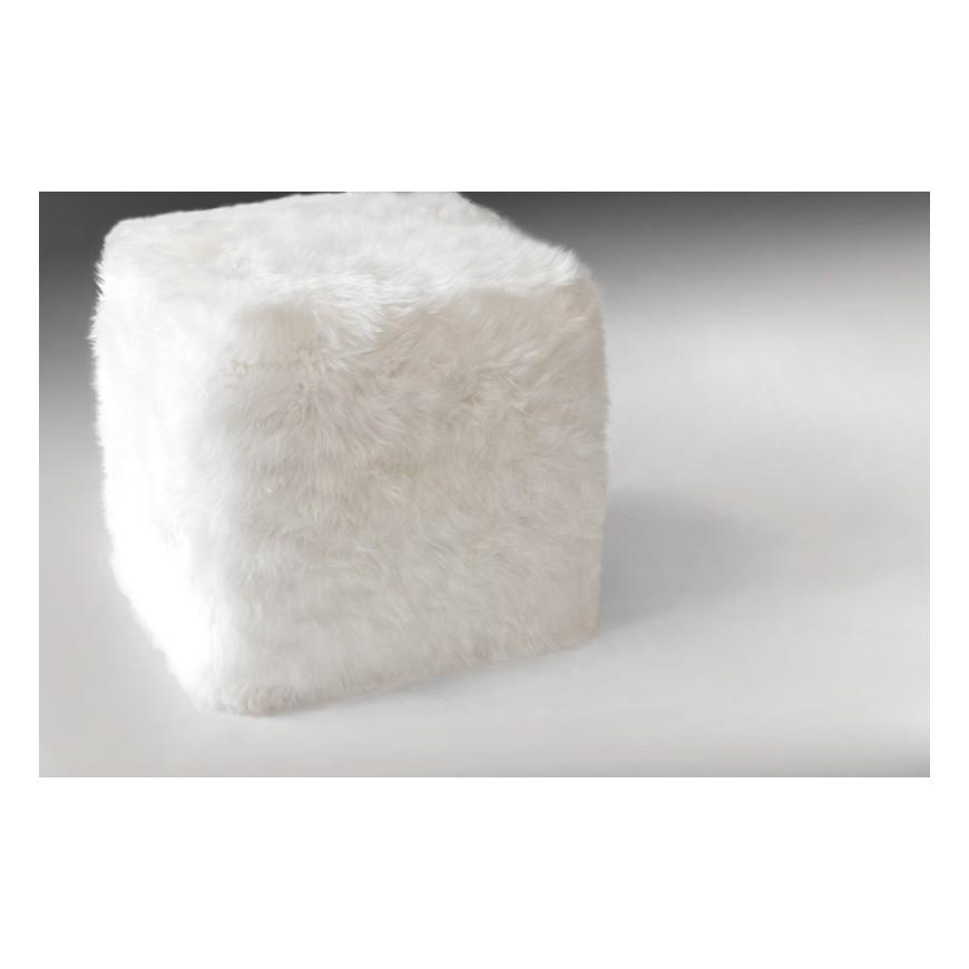 σκαμπο πουφ sheepskin white