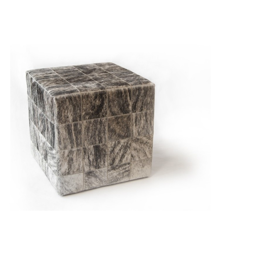 cowhide cube cover* white grey beige salt pepper