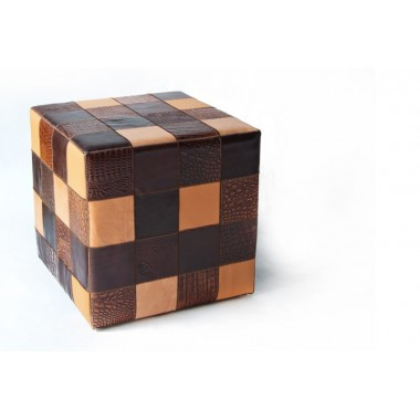 leather cube cover* multicolor brown