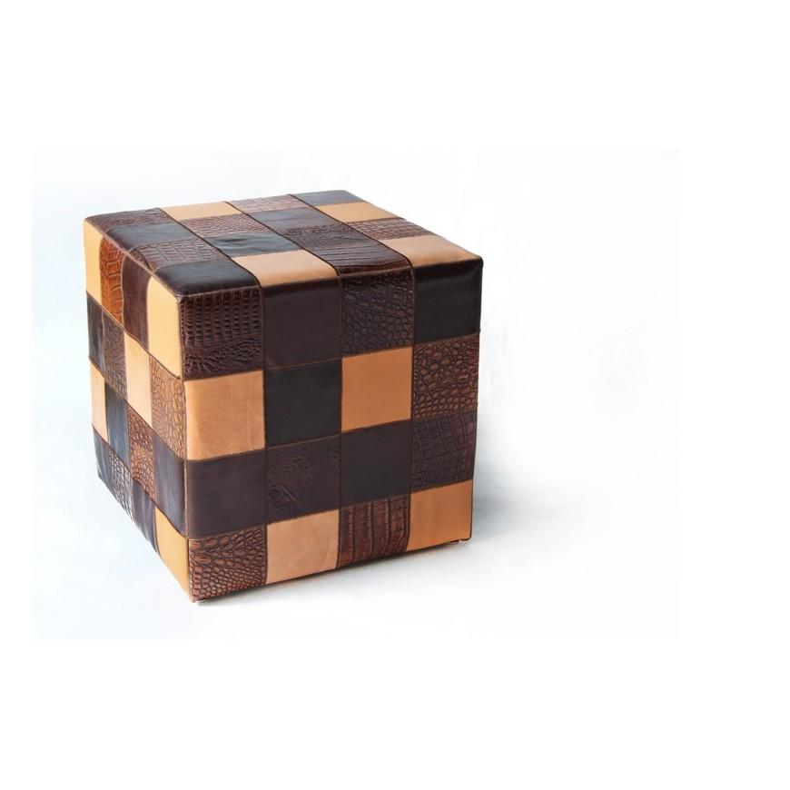 Δερματινο σκαμπο πουφ multicolor brown